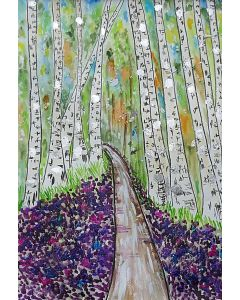 Silver Birch Trees in a Bluebell Wood