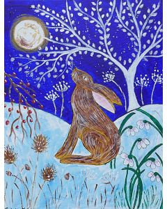 Hare Moongazing in the Snow