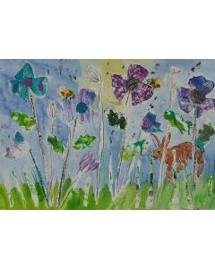 Hare Leaping among Blue and Magenta Collage Poppies