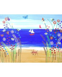 Colourful Seascape with Bold Flowers