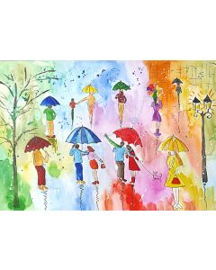 Colourful Umbrellas and a Street Lamp