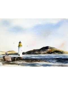 Rubha nan Gall lighthouse, Tobermory. Original watercolour painting.