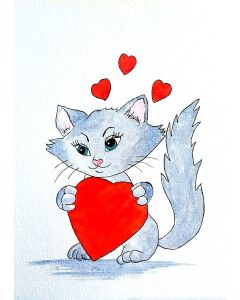 Cat and Hearts