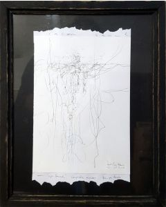 Spontaneous framed ink angel drawing by O KLOSKA Signal angels