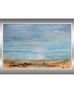 Peaceful Sea - Acrylic Abstract Painting, Blue Seascape, Artwork in Frame