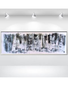 White and Silver - Acrylic abstract painting, framed structured artwork