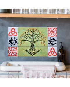 Handpainted Ceramic Tile Mural suitable as a Kitchen or Bathroom Splashback and as a Fireplace Mural