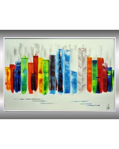 Exciting New York II - Framed Acrylic Painting on Canvas, Colourfull Cityscape