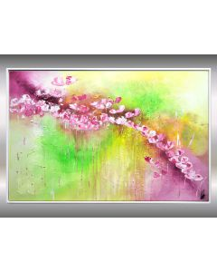 Spring - Abstract Acrylic Flower Painting on Canvas, Framed Artwork