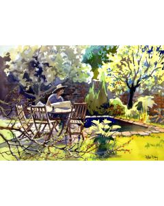 Spring in the Garden, Plum and Pear Trees, Pond, table and chairs