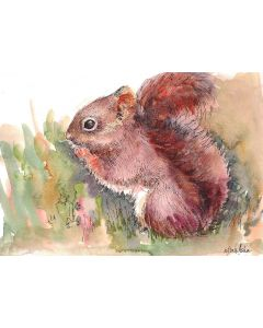 Squirrel Art - A nutty encounter Ink and wash