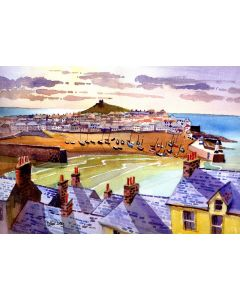 Over the Rooftops, St Ives, Cornwall. Beach, Boats, Sunset, Smeaton's Pier, Harbour.