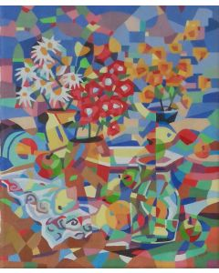 Still life, fruits and flowers