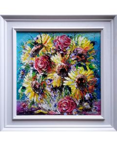 still life sunflowers and wildflowers in a vase pallet knife painting using bright, colorful impasto techniques, luxury framed art for the home.