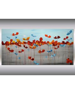 Summer Meadow - Abstract acrylic painting on canvas, abstract flower painting