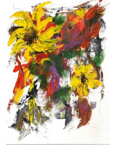 Sunflowers with lots of texture on paper