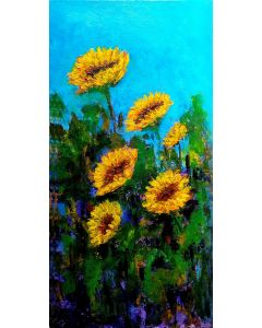 """Sunflower Painting Inspired by Van Gogh Sunny Summer 8""""x 16"""""""