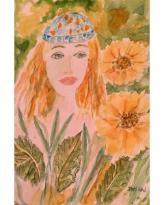 'Sunflowers and Girl' original painting signed