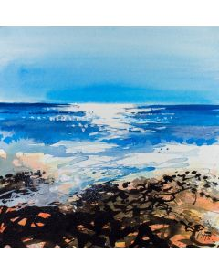 Sunny morning at Birling Gap, An original watercolour and acrylic seascape painting of the ocean on paper. From the coastal art series by Jonathan Pitts. This series is about exploring the rocky cliffs, the ocean seascapes, the sandy beaches and the count