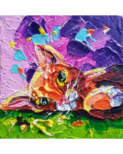 ginger tom impasto cat art. Paintings of cats with pallet knives, deluxe thick paint creations of animals in pet portraits.