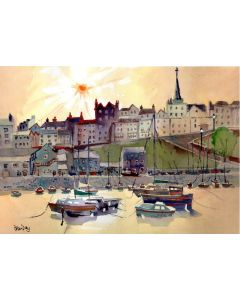 Tenby, Pembrokeshire, Wales. Harbour, Quay & Boats. Summer Evening