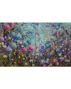 The Hydrangea Patch - Large painting on two panels (Diptych)