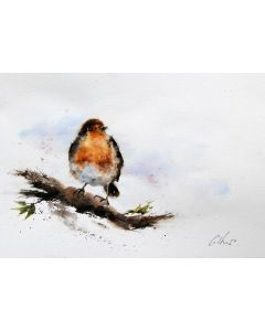 The Gentle Robin. Original watercolour painting.
