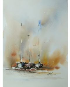 Three Boats, Original Watercolour Painting.