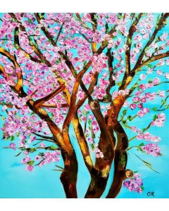 CHERRY BLOSSOM , SPRING IN LONDON WHITE, PINK, TURQUOISE