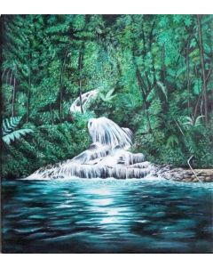 Rainforest Waterfall Painting| Large Acrylic Canvas Painting 40cmx45cm