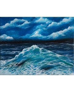 Seascape Oil Painting on Canvas 20cmx25cm Original Painting | Sea Waves Landscape Painting