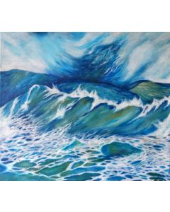 Green Ocean Wave Painting