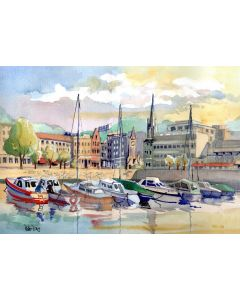 Torquay Harbour, Devon.  Leisure boats, Clock Tower and Church