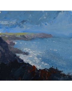 Plein air art made with the storm clouds gathering, mixed media acrylic painting by Jonathan Pitts. Cornish art, expressive painting, painting dramatic clouds, acrylic paint