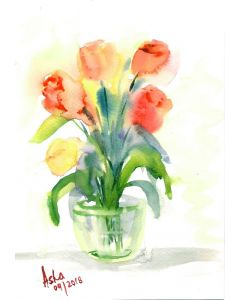 Tulips in a vase watercolour loose painting