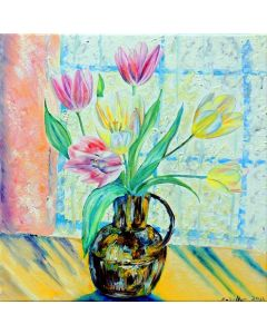 Yellow & Pink Tulips in Brass Jug