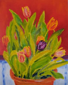 TULIPS 20x16inches Original Oil Painting