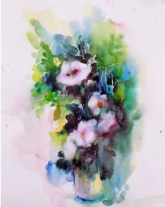 Spring Flowers in a vase, loose watercolor floral painting