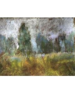Autumn Mist Landscape Pastel Drawing