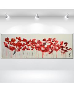 Wilder Mohn- abstract flower painting on canvas, framed acrylic painting