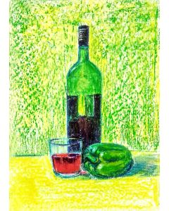 Green Red Wine bottle and green pepper Still Life on paper