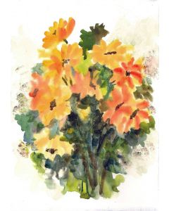 Golden Yellow Spring Flowers, Abstract Floral Art, Expressionism Floral watercolor painting