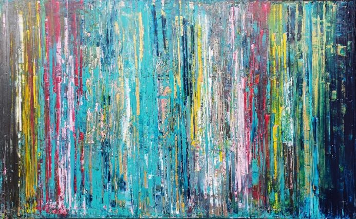 Life changes - large colorful abstract painting