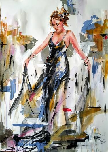 Future-Woman painting on paper-Figurative painting