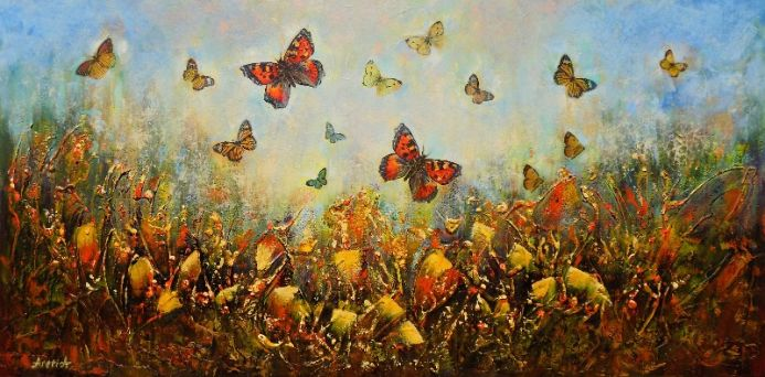 Countryside views - Landscape with butterflies and wildflowers