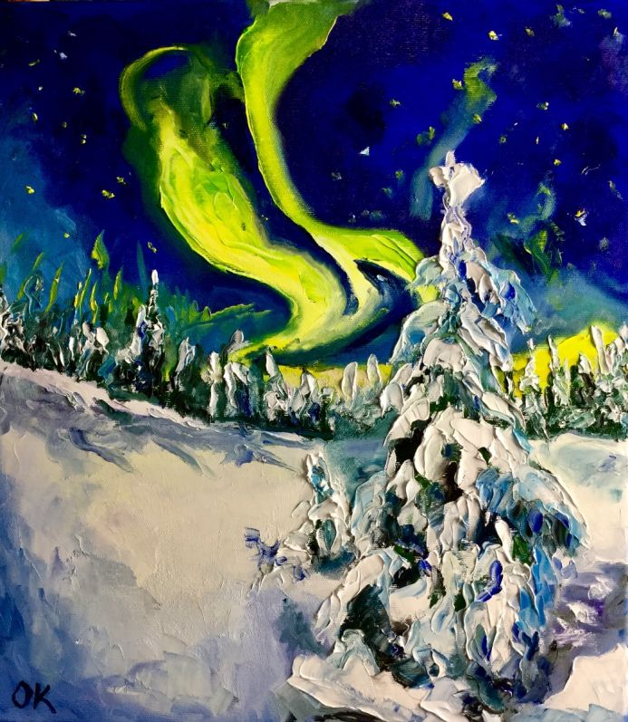 Mystic winter night before Christmas. Northern lights