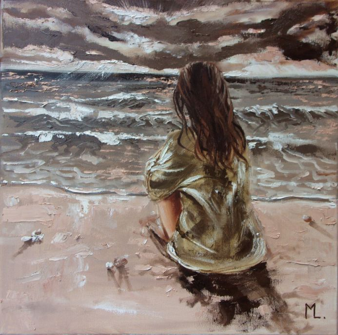 """"""" LISTENING TO THE SEA ... """" original painting SEA spring palette knife GIFT (2019)"""