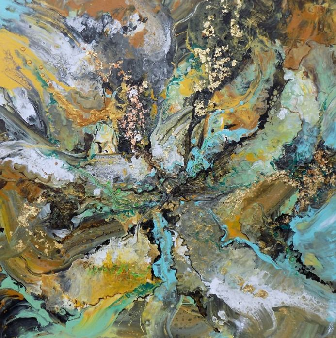 Abstract painting art, with gold leaf