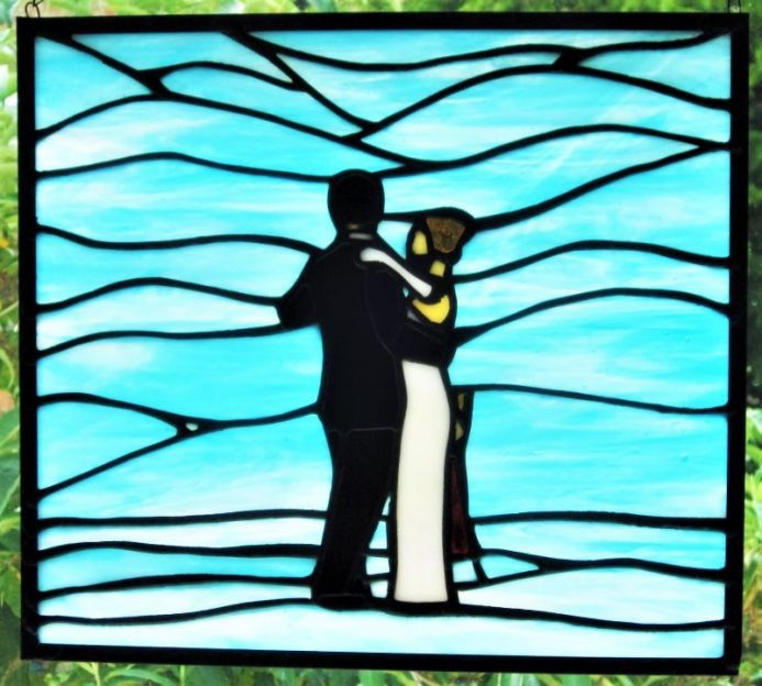 Dance Me To The End Of Love Stained Glass Art Tiffany Handmade Window Panel