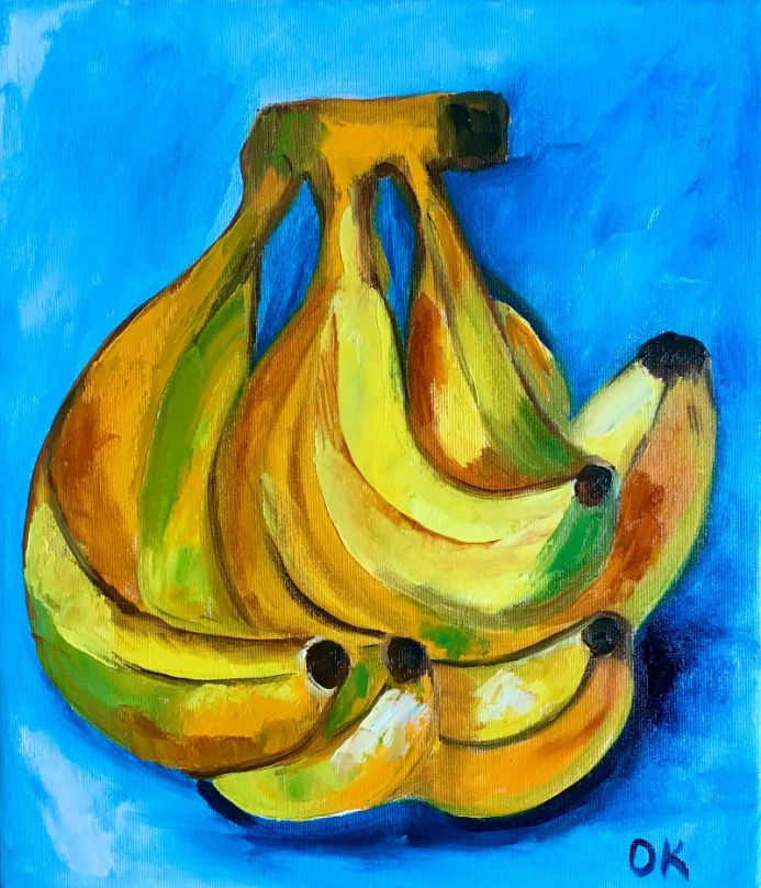 Bananas Still life on Turquoise  #3